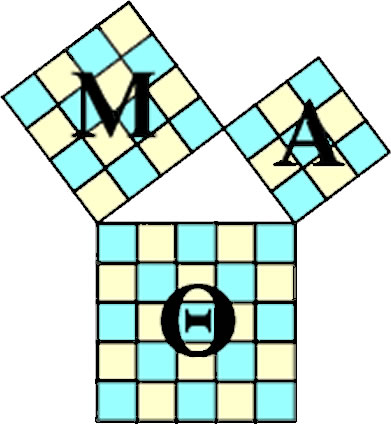 Mu Alpha Theta logo; Mu, Alpha, and Theta are the Greek letters for M, A, and Th.