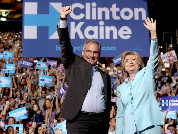 Presidential candidate Clinton and her Vice Presidential candidate Tim Kaine at a Pennsylvania rally.