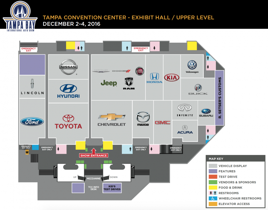 Upper level map of auto show