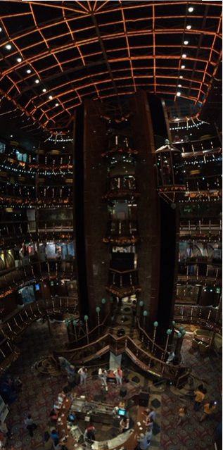 View of all twelve floors from inside the Carnival Paradise.