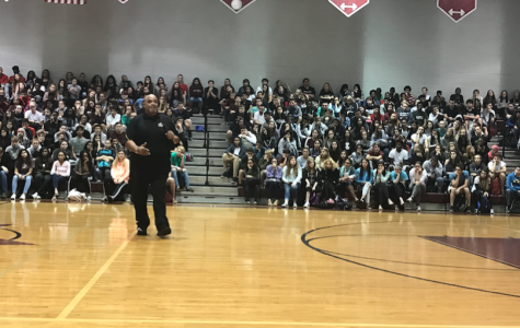Reggie Dabbs gives a powerful speech to Wiregrass students