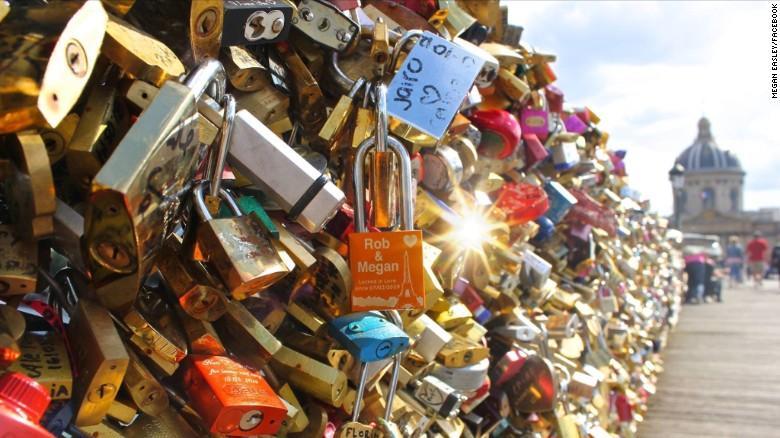 Love locks on bridges in Paris.