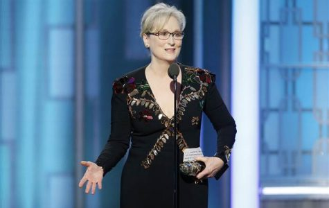 Meryl Streep delivering her speech against bullying and the importance of preserving the media.