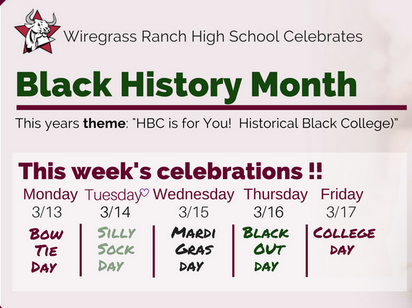 Black History Month spirit week schedule