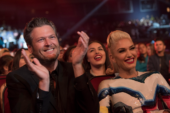 Gwen Stefani and Blake Shelton at an awards show.
