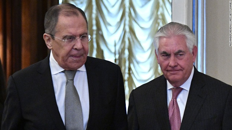 (Left to Right) Russian Foreign Minister Sergey Larov and U.S. Secretary of State Rex Tillerson meeting in Moscow.