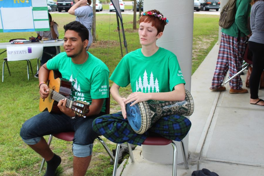 Students set an upbeat mood by playing for the the participants.