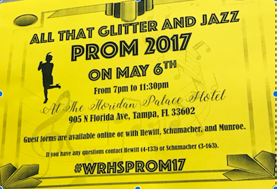 One of the posters that you will find around campus that gives information about prom.