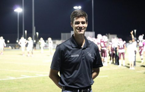 WRHS Band Director Patrick Duncan at the football game vs. Plant