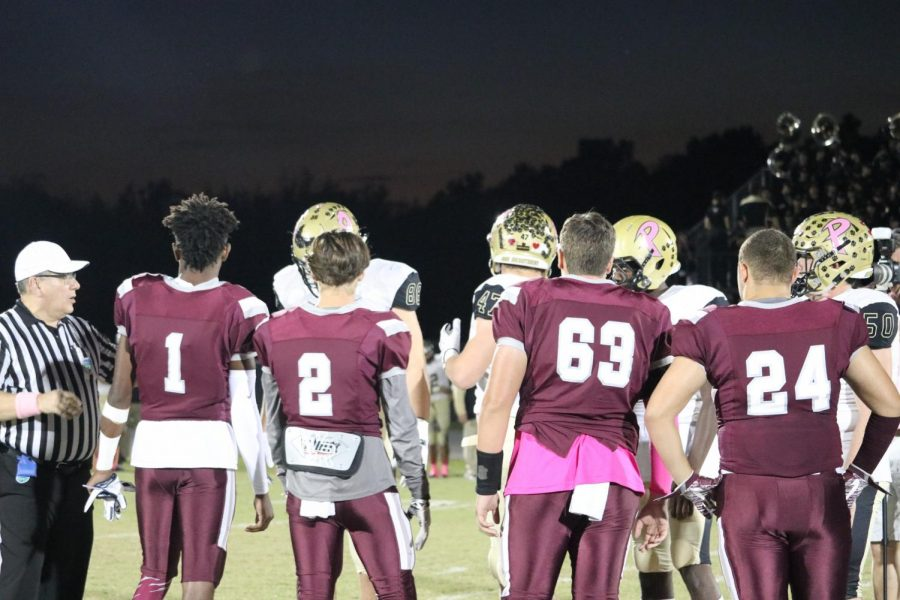 Wiregrass captains coin toss with the Plant captains