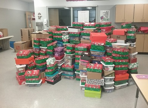 416 Christmas boxes for children around the world donated by the students and staff of Wiregrass Ranch