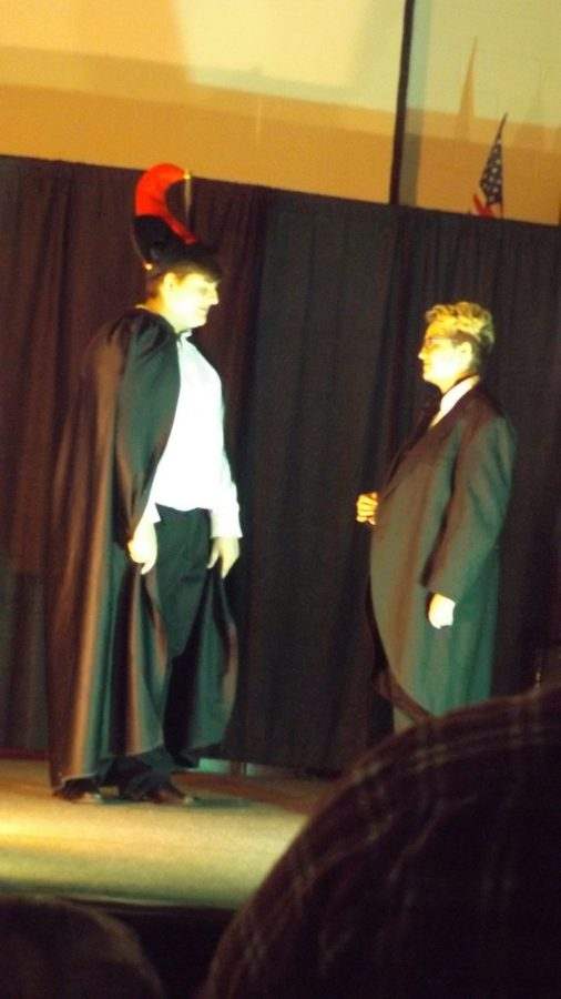 JD McDonald and Danica Horwitz as Fortunato and Montresor in The Cask of Amontillado.
