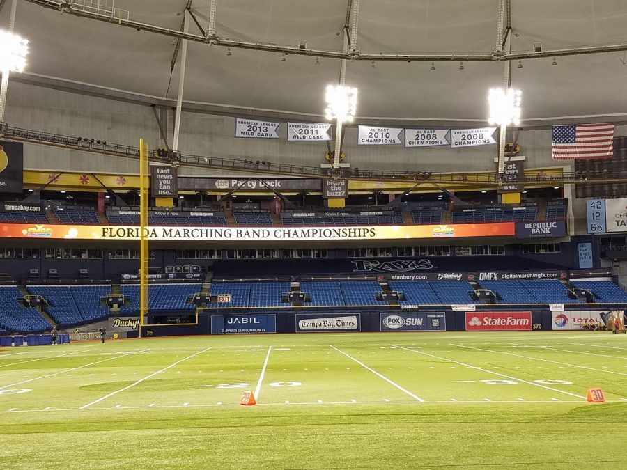 A view of the inside of Tropicana Field from the front