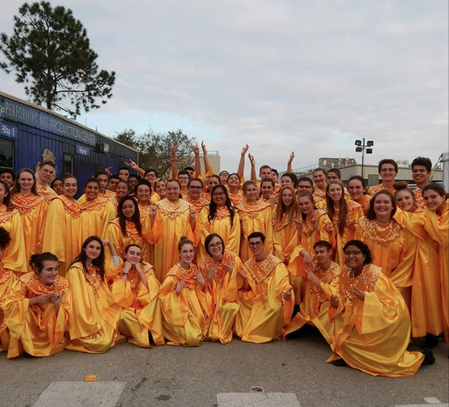 Chorus in their Candlelight performance robes.
