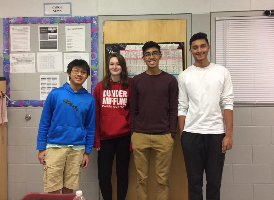 The members of the calculus team (from left to right): Kelvin Ng (10), Madison Wade (11), AJ Persaud (10), Neil Rupani (12)