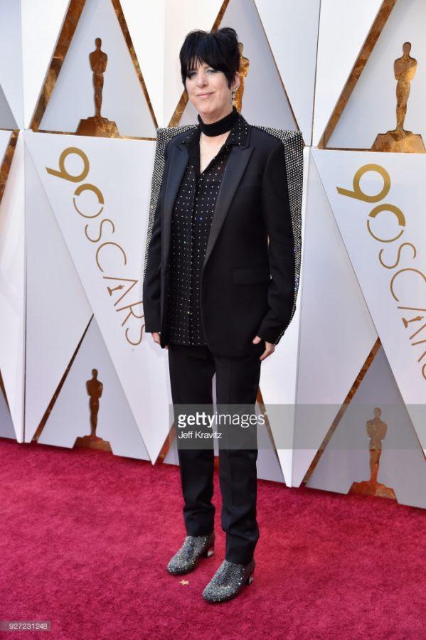 Diane Warren in a Saint Laurent suit.