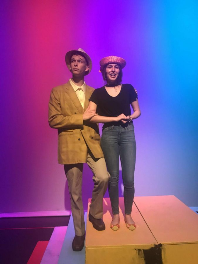 Oliveri and Anna Claire Frick (9) as their characters during rehearsal