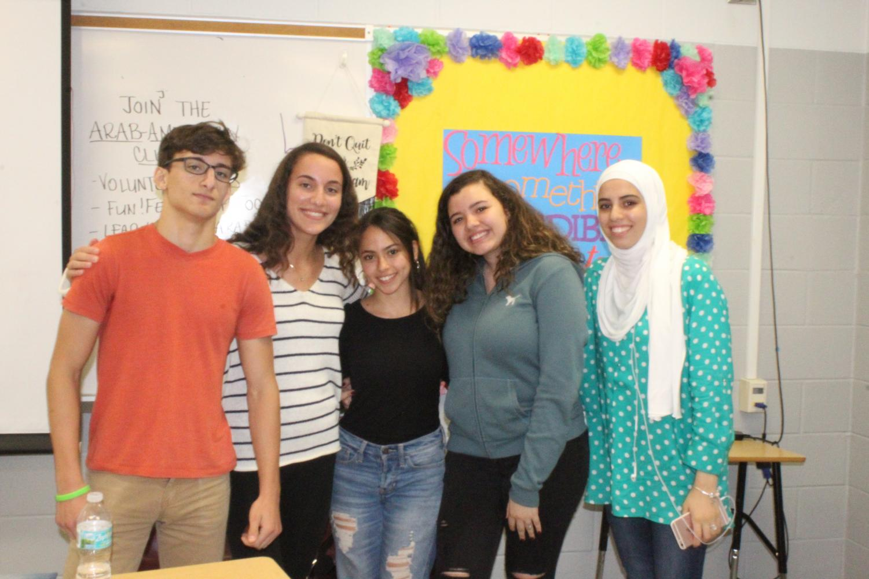 Samer Khatib (President) Luna Khatib (Vice president) Youanna Mosad (Secretary) Hana Abdelkawi (Treasurer) and Roba Bayari (Historian)