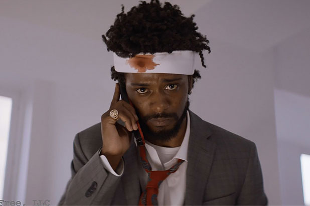Photo taken of Lakeith Stanfield as Cassius Green, in the head bandage seen in posters for the film.