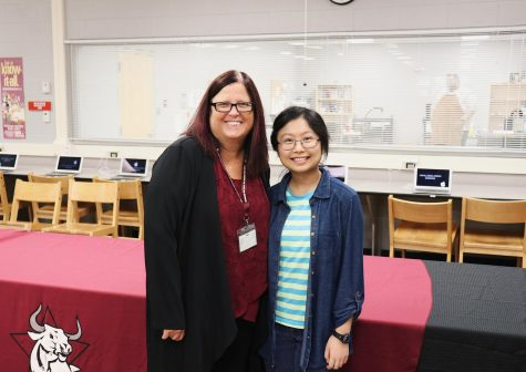 Outstanding Senior Chin Chin Choi and WRHS Principal Mrs. White.