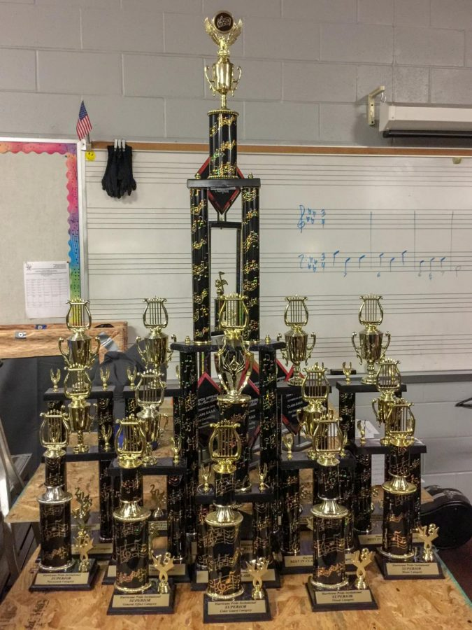 The numerous trophies won by the band at their competition