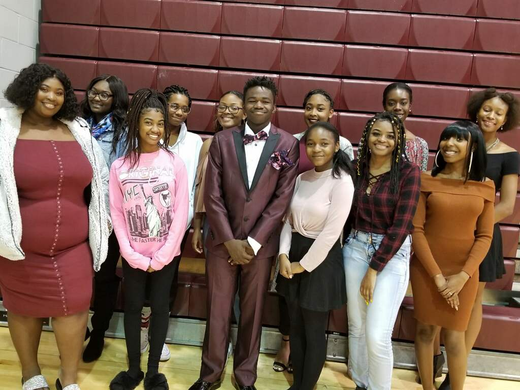 The Black History Club at the Poetry Slam event in 2018.