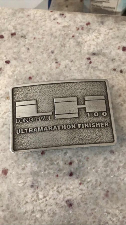 The buckle awarded to each finisher of the Long Haul 100 mile race.