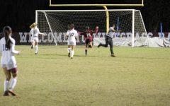 Senior Katherine Llanos scores the game winning goal.