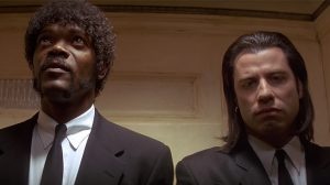Image of Jules and Vincent taken from arguably the most iconic sequence in Pulp Fiction.