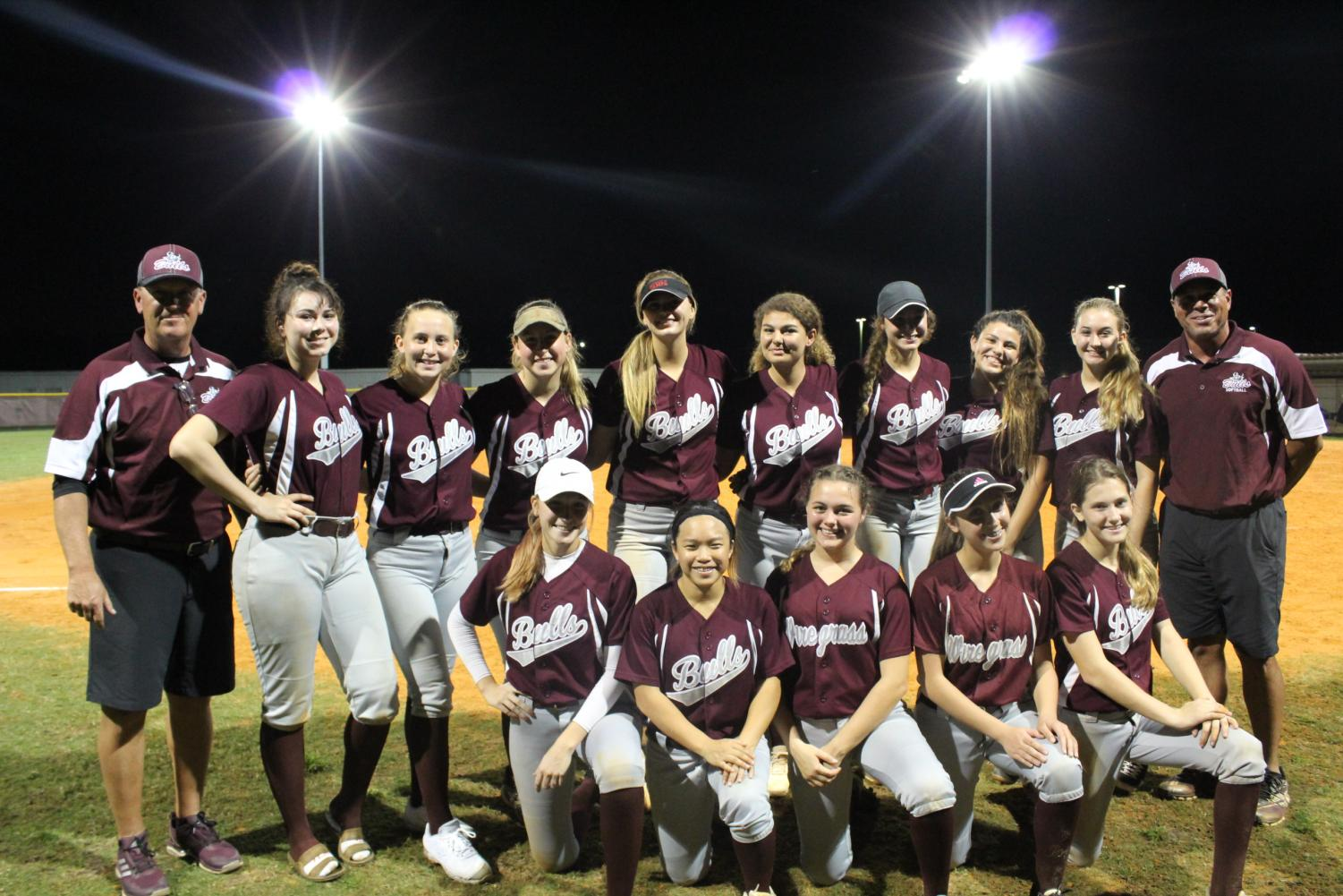 The Bulls 2019 softball team after their first win of the season.