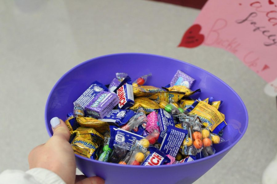 A variety of candy was given out on Valentine's day to make people aware of how important it is to wear your seatbelt.