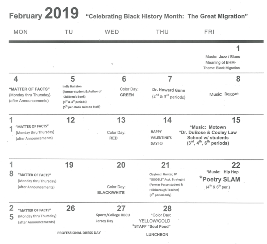 February 2019 calendar of events for Black History Month.