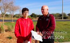 Wiregrass Ranch boys soccer coach, Dave Wilson being interviewed.