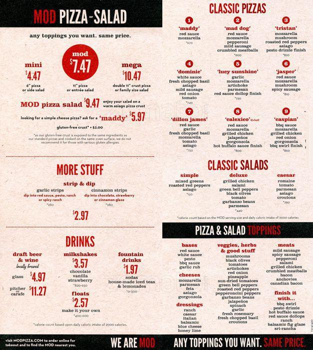 MOD pizza menu.