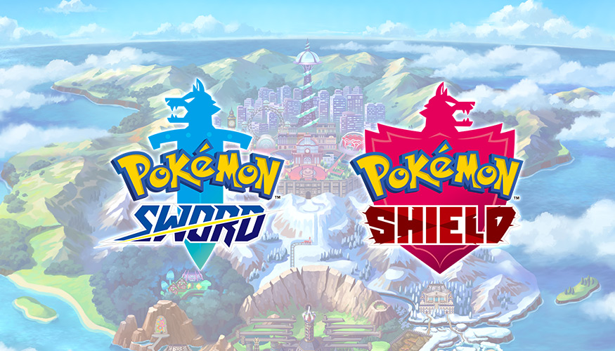 Image of the two logos for Pokemon: Sword and Shield over the game's map.