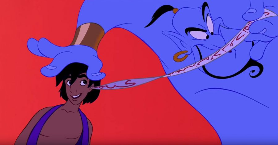 The Genie and Aladdin from the 1992 animated classic.