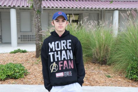 "Casey Moran sporting his Avengers hoodie on campus for the ""Avengers Endgame"" release."
