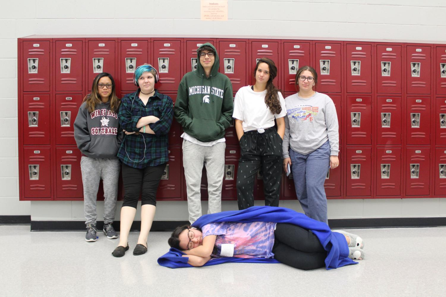 Seniors on Senioritis Day dressed in lounge wear.