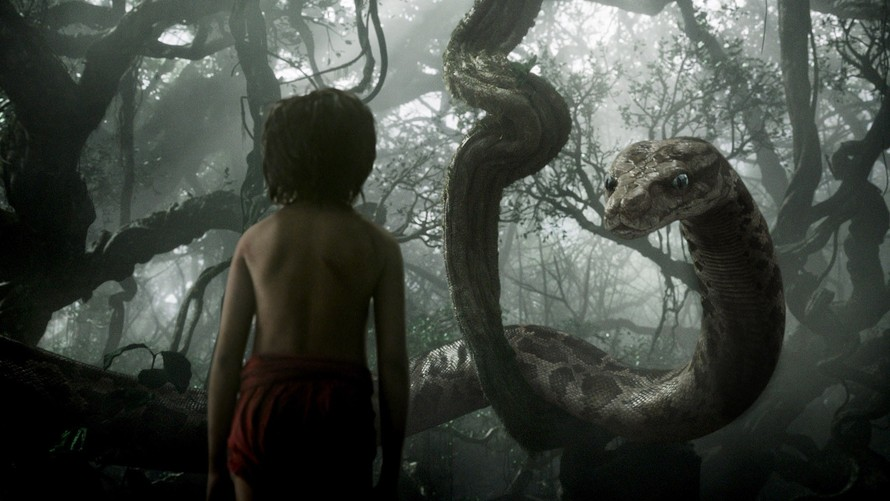 Mowgli and Kaa meeting for the first time.