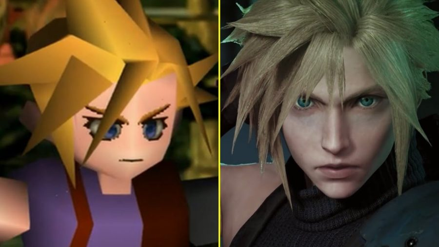 Image+showcasing+the+contrast+in+graphics+between+the+original+FFVII+and+the+2015+remake+trailer.+