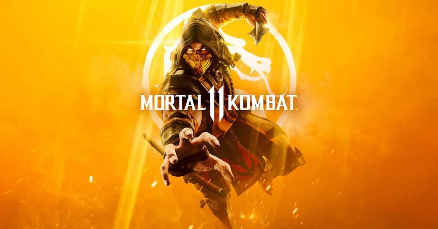 Mortal Kombat 11's poster, with iconic character Scorpion on the cover..