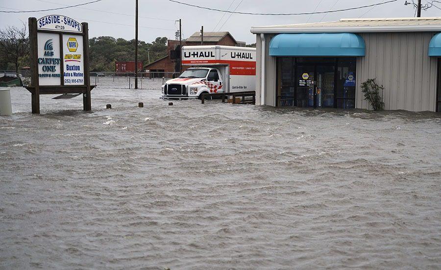 The devastating floods of the hurricane.