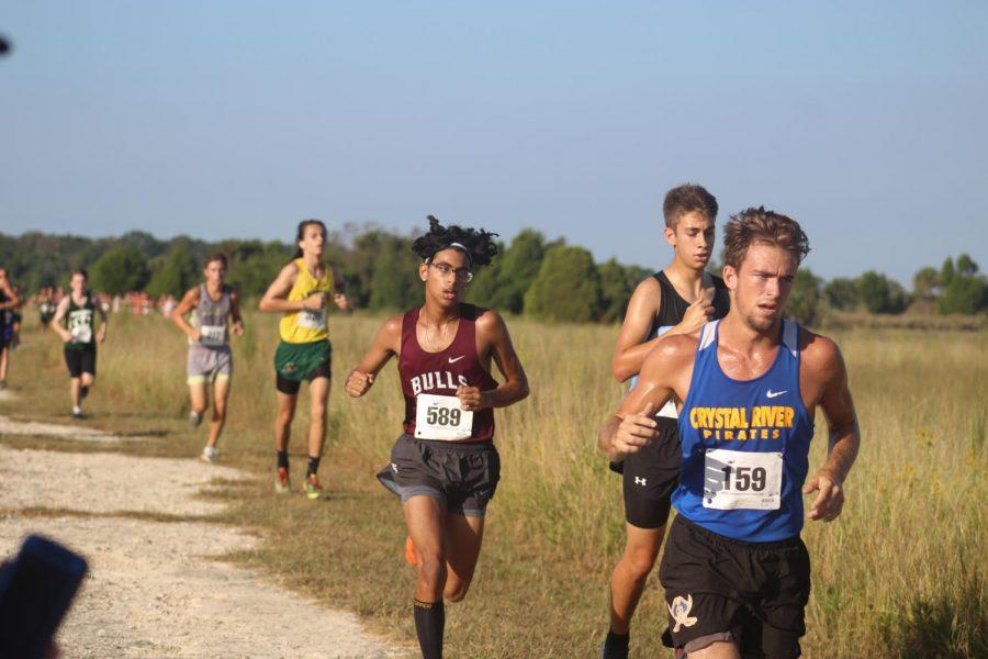 Sophomore Ashton Jhoda with a close race.
