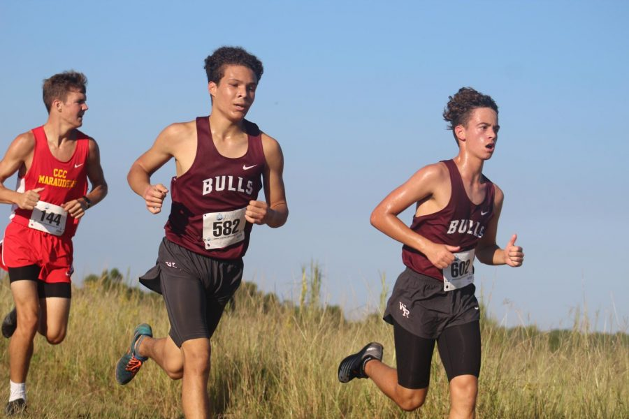 Junior Vincent Constable and Freshman Jack Webster running head-to-head.