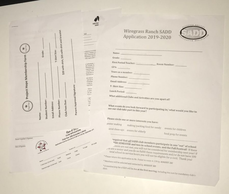 The application sheets to sign up for some clubs not all.