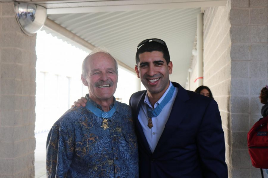 John Baca and Florent Groberg after their presentation at Wiregrass.