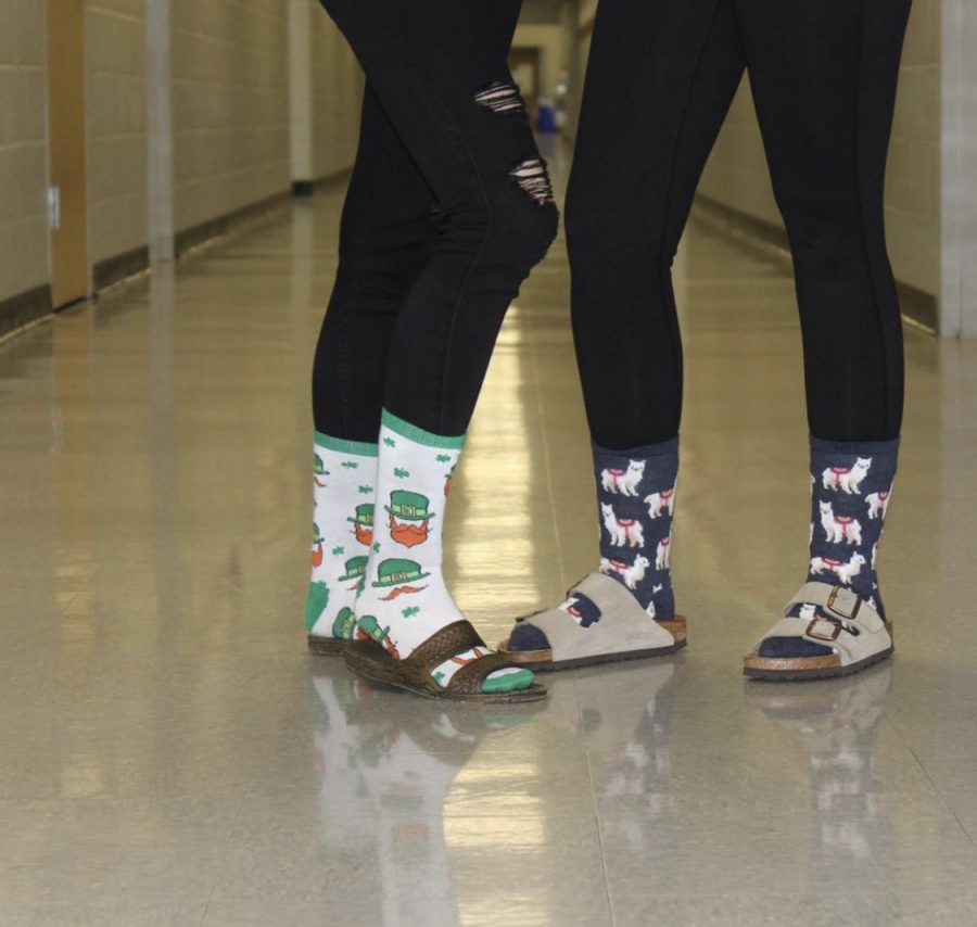 WRHS students wearing crazy socks in support of Red Ribbon Week.