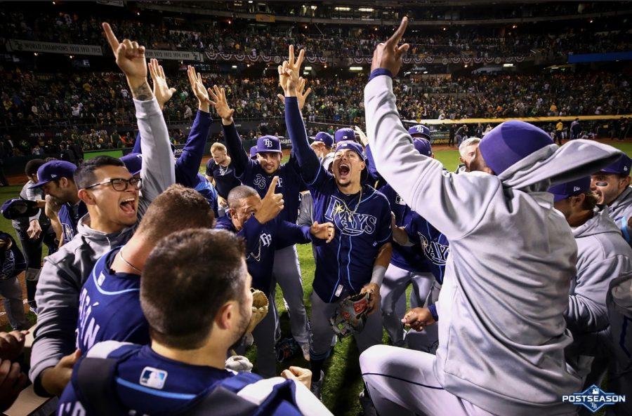 Rays celebrating big victory