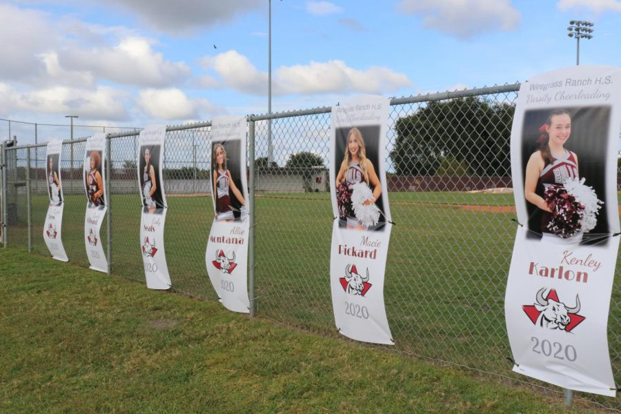 The Senior cheerleader banners along the fence of the baseball field.