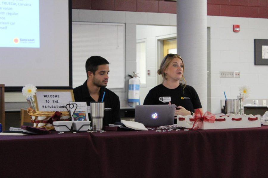 Manuel Garcia and Brittney Hansen talking about Auto Finance to Wiregrass Economics students.